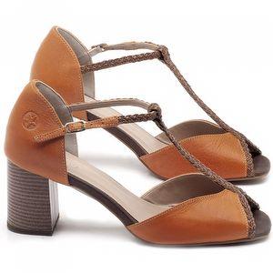Sandália Salto Médio de 6cm em couro Laranja - Código - 3596