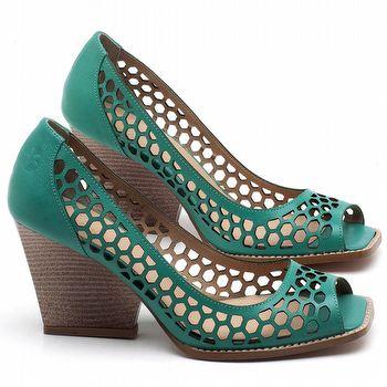 Peep Toe Salto Medio de 6cm em Couro Verde Hortelã - Código - 3498