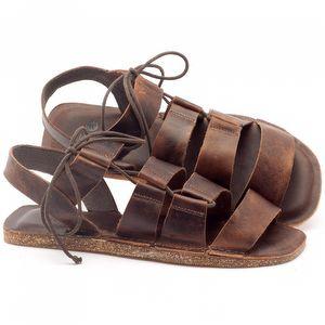 Rasteira Flat em couro marrom - Código - 141046
