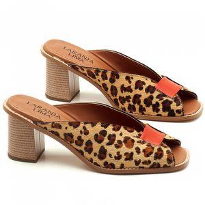 Sandália Salto Médio de 7cm em couro animal print Onça - Código - 3571