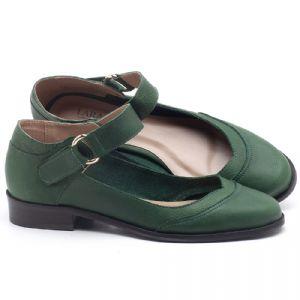 Oxford Laranja Lima com salto de 3cm em couro Verde Militar - Código - 9400