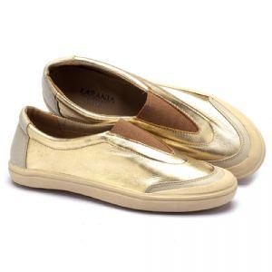 Tênis Cano Baixo em couro ouro 56094