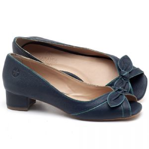 Peep Toe Salto Baixo de 4cm em couro Azul Marinho - Código - 3473