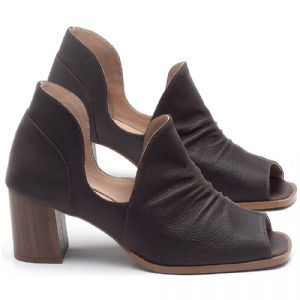 Sandália Salto em couro Chocolate - CÓDIGO - 3705