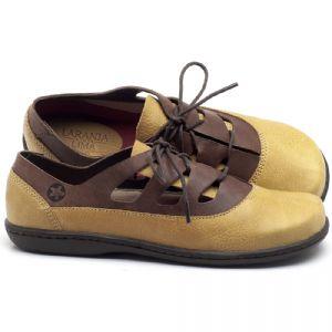 Flat Shoes em couro Amarelo com Telha - Código - 56189