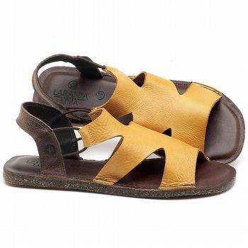 Rasteira Flat em couro Amarelo - Código - 141110