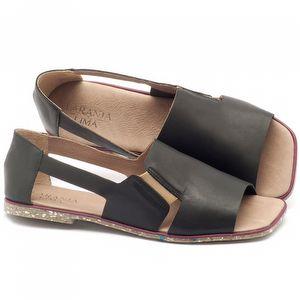 Rasteira Flat em couro preto com palmilha em couro - Código - 145012