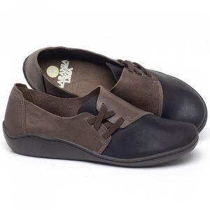 Flat Shoes em couro Preto com Marrom - Código - 139022