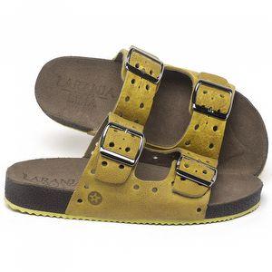 Rasteira Flat em couro Amarelo - Código - 148032