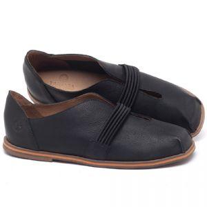 Flat Shoes em couro Preto - Código - 3053