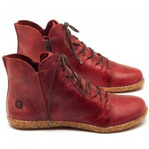 Tênis Cano Alto em couro vermelho - Código - 137149