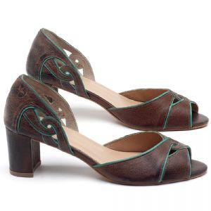 Sandália Salto Médio de 6cm em couro Marrom Tellha com Hortelã - Código - 3646