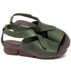Rasteira Flat em couro Verde Militar - Código - 136044