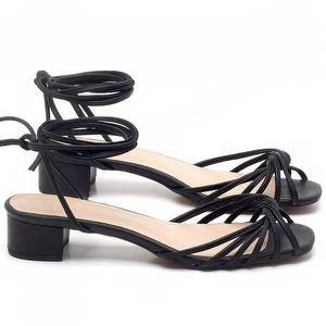 Sandália Salto Médio de 6cm em couro Preto - Código - 3703