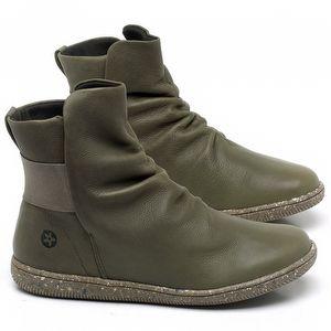 Flat Boot em couro Verde Musgo - Código - 137257