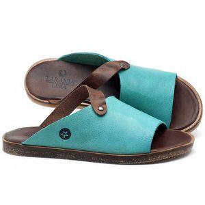 Rasteira Flat em couro Azul Piscina - Código - 141056