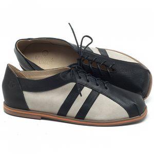 Flat Shoes em couro Preto com Off-White - Código - 3058