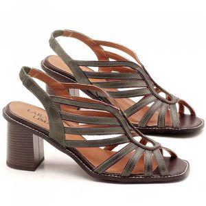 Sandália Salto Médio de 6cm em couro Musgo - Código - 3538