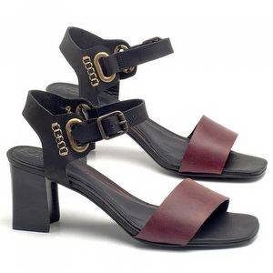 Sandália Salto Médio de 6cm em couro Preto com Vinho - Código - 56170