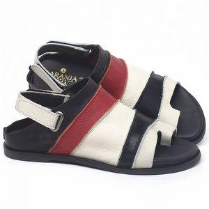Rasteira Flat em couro Preto, Branco e vermelho - Código - 137185