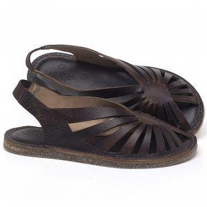 Rasteira Flat em couro Marrom Tan - Código - 141152