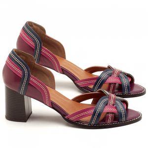 Sandália Salto Médio de 6cm em couro Vinho, Azul e Rosa - Código - 3545