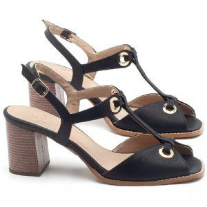 Sandália Salto Médio de 6cm em couro Preto - Código - 3660