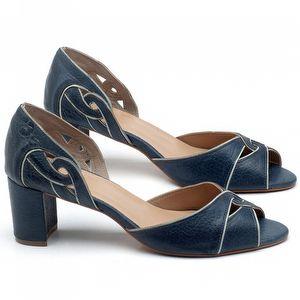 Sandália Salto Médio de 6cm em couro Azul Marinho - Código - 3646