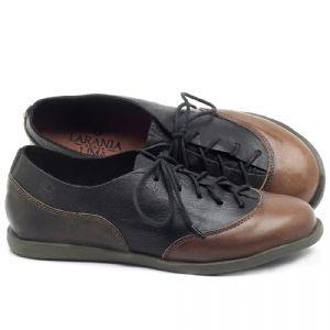 Flat Shoes em couro oliva com preto e tan - CÓDIGO - 137224