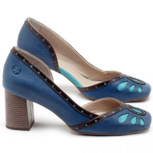 Scarpin Salto Médio de 6cm em couro Azul bic e Marrom Telha - Código - 3611