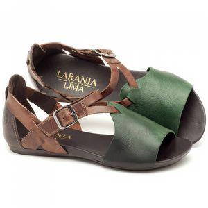 Rasteira Flat em couro marrom com verde - Código - 137050