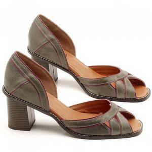 Sandália Salto Médio de 6cm em couro Musgo e Amora - Código - 3489
