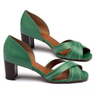 Sandália Salto médio de 6,5cm em couro verde - 3446