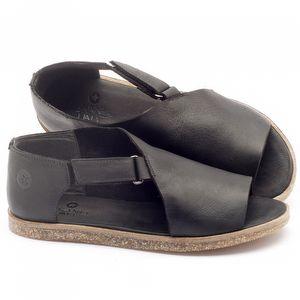 Rasteira Flat em couro preto - Código - 141041