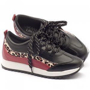 Tênis Cano Baixo em couro preto, vermelho, leopardo - Código - 99064