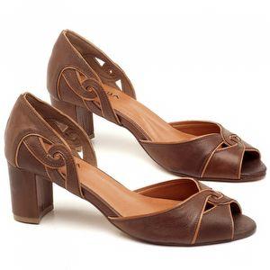 Sandália Salto de 6cm em couro Telha com Caramelo - Código - 3595