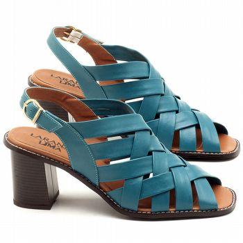 Sandália Salto Médio de 6cm em couro Azul Turquesa - Código - 3544