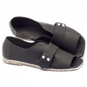 Rasteira Flat em couro preto - Código - 145002