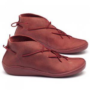 Tênis Cano Alto em couro vermelho - Código - 139011