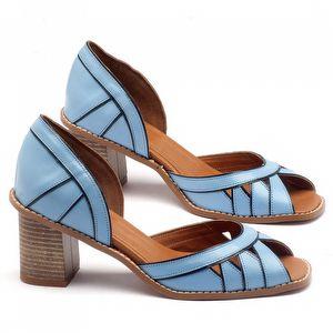 Sandália Salto médio de 6cm em couro azul - 3489