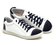 Tênis Cano Baixo Branco e Azul Marinho Matelassê 99023