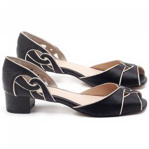 Sandália Salto Baixo de 4cm em couro Preto - Código - 3662