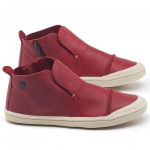 Tênis Cano Alto em couro vermelho - Código - 141074