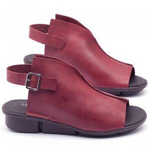 Rasteira Flat em couro vermelho - Código - 136042