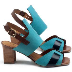 Sandália Salto Médio de 6cm em couro Azul Piscina com Marinho - Código - 56178