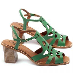 Sandália Salto Médio de 6cm em couro verde - Código - 3508