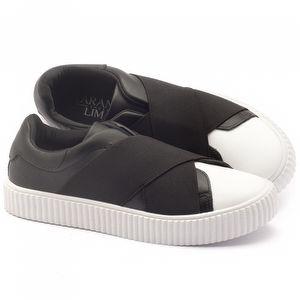 Tênis Cano Baixo em couro preto com branco - Código - 99066