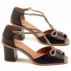 Sandália Salto de 6cm em couro Preto com Musgo - Código - 3598
