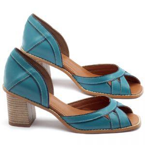 Sandália Salto médio de 6cm em couro turquesa - Código - 3489