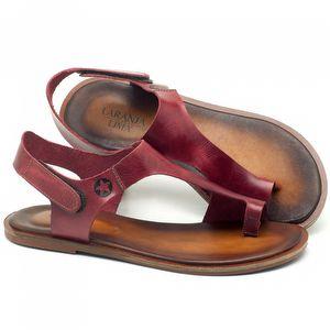Rasteira Flat em couro vermelho - Código - 136073